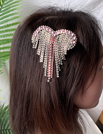 Fashion pink Alloy Diamond Love Tassel Hair Clip