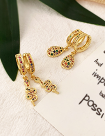 Fashion Gold Copper Inlaid Zircon Droplet Earrings