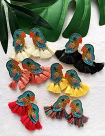 Fashion Color Alloy-studded Parrot Tassel Earrings