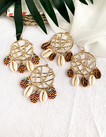Fashion Color Alloy Openwork Round Shell Earrings