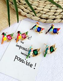 Fashion Green Alloy Resin Drip Bird Earrings