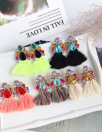 Fashion Fluorescent Green Alloy Studded Tassel Earrings