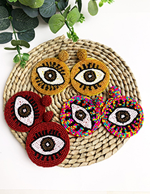 Fashion Red Non-woven Rice Beads Eye Studs