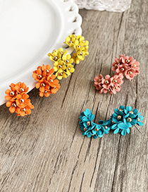 Pink Alloy Small Flower Earrings