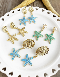 Gold Alloy Pearl Starfish Earrings