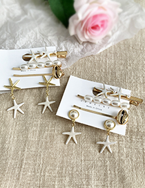 Gold Alloy Pearl Conch Shell Starfish Hairpin Earrings Set 5 Piece Set