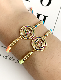 Fashion Color B Copper Inlaid Zircon Braided String Beaded Letter Bracelet