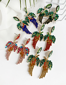 Fashion Red Alloy Studded Leaf Stud Earrings