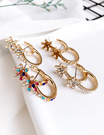 Fashion Ab Color Alloy Diamond Round Flower Earrings