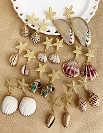 Fashion Gold Alloy Starfish Shell Earrings
