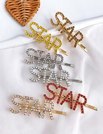 Fashion Champagne Alloy Diamond Letter Star Word Hairpin