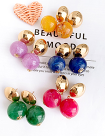 Fashion Red Alloy Resin Ball Earrings