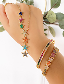 Fashion Gold Copper Inlaid Zircon Pentagram Bracelet