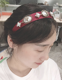 Fashion Red Wine Fabric Alloy Pearl Headband