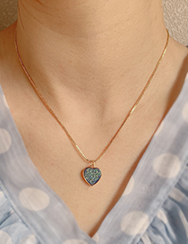Fashion Champagne Copper Natural Stone Love Necklace