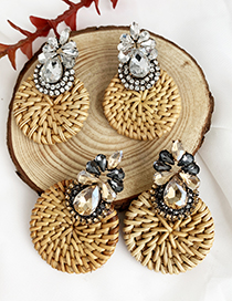 Fashion White Alloy-studded Wood Rattan Woven Round Drop Earrings