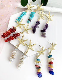 Fashion Light Yellow Alloy Natural Stone Starfish Earrings