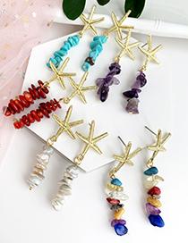 Fashion Lake Green Alloy Natural Stone Starfish Earrings