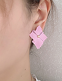 Fashion Yellow Alloy Square Flower Earrings