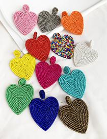Fashion Gold Felt Cloth Rice Beads Love Earrings