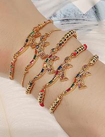 Fashion Gold Copper Inlaid Zircon Beaded Dinosaur Bracelet