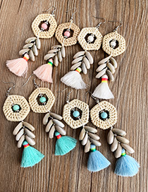Fashion Pink Alloy Rattan Shell Cotton Thread Tassel Earrings