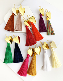 Fashion Red Wine Alloy Love Tassel Earrings