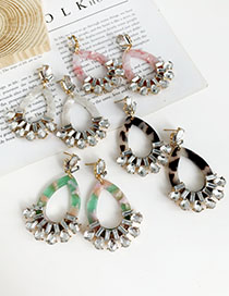 Fashion Pink Alloy Inlaid Resin Drop Shape Earrings