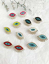 Fashion White Alloy Diamond Eye Studs