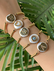 Fashion Agold Copper Inlaid Zircon Shell Beaded Alphabet Stud Bracelet
