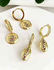 Fashion Gold Copper Inlaid Zircon Shell Earrings