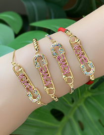 Fashion Gold Copper Inlaid Zircon Beaded Pin Letter Love Bracelet