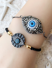 Fashion Black Copper Inlay Zircon Eye Bracelet