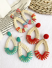 Fashion Red Alloy Rattan Rice Beads Drop Earrings