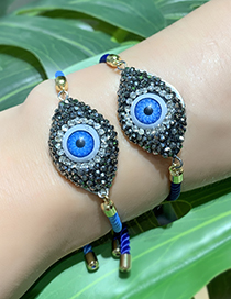 Fashion Blue Copper Inlaid Zircon Braided Rope Eye Bracelet