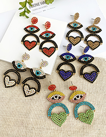 Fashion Blue Alloy Diamond Eye Love Earrings