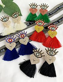 Fashion Black Alloy Diamond Eye Long Eyelashes Love Tassel Earrings