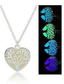 Fashion Sky Blue Luminous Life Tree Glowing Heart Necklace