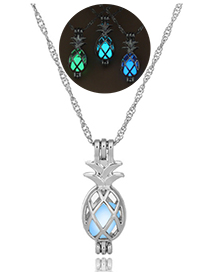 Fashion Blue Green Pineapple Hollow Pineapple Luminous Cage Necklace