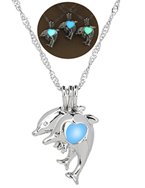 Fashion Blue Green Dolphin Luminous Cage Necklace
