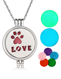 Fashion Ancient Bronze Stainless Steel Love Footprints Combined With Luminous Necklace