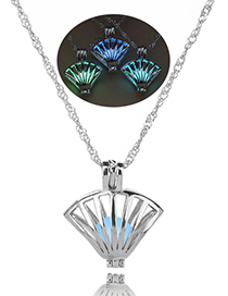 Fashion Blue-green Shell Hollow Shell Night Light Bead Necklace