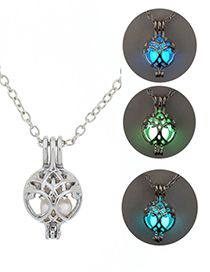 Fashion Blue Green Life Tree Luminous Necklace
