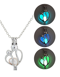 Fashion Blue Green Hollow Mother And Child Luminous Necklace