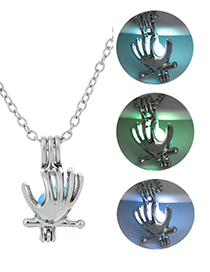 Fashion Blue Green Hand-shaped Luminous Necklace