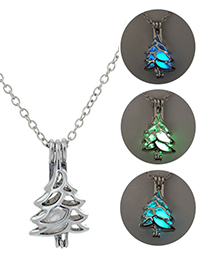 Fashion Blue Green Christmas Tree Shape Can Open Luminous Necklace