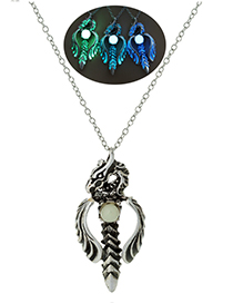 Fashion Blue And Green Luminous Love Shape Flying Dragon Luminous Necklace