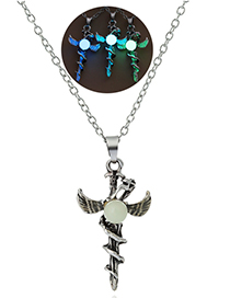 Fashion Yellow-green Luminous Sword Flying Dragon Necklace