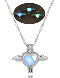 Fashion Blue Green Angel Heart Openwork Wings Hearts Night Light Cage Necklace