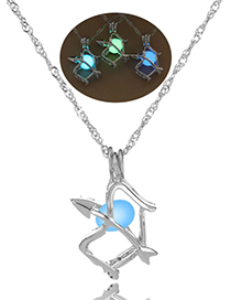 Fashion Blue-green Petrel Hollow Bow And Arrow Luminous Beads Necklace